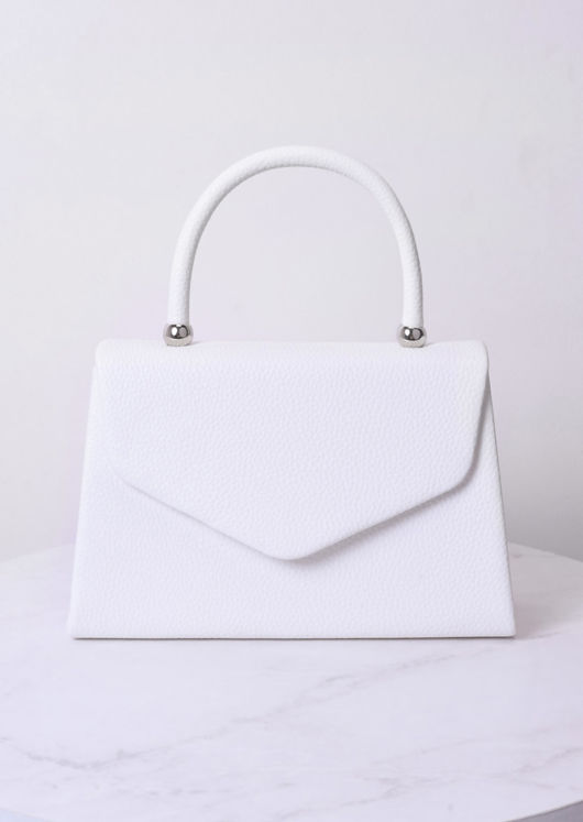 Faux Leather Mini Envelope Tote Bag White