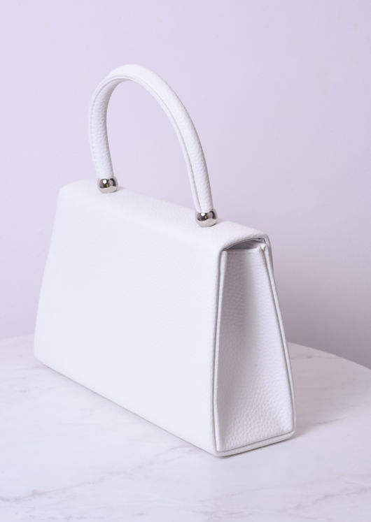 Faux Leather Mini Envelope Bag White