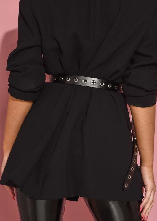 Real Leather Stud Eyelet Belt Black