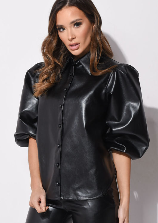 Faux Leather Puff Sleeves Shirt Black