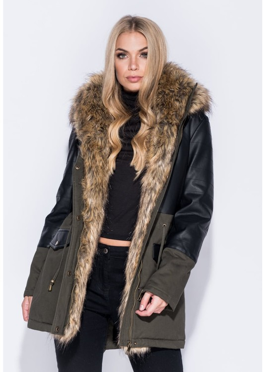 Faux Leather Parka Coat