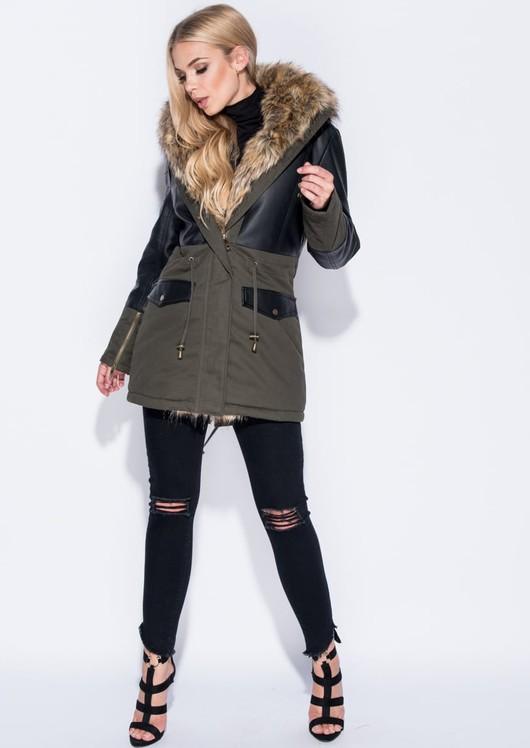 Faux Leather Panel Fur Trim Parka Coat Khaki Green