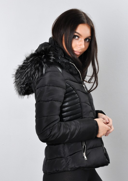 official images online retailer finest selection Faux Leather Panel Fur Hooded Padded Puffer Jacket Coat Black