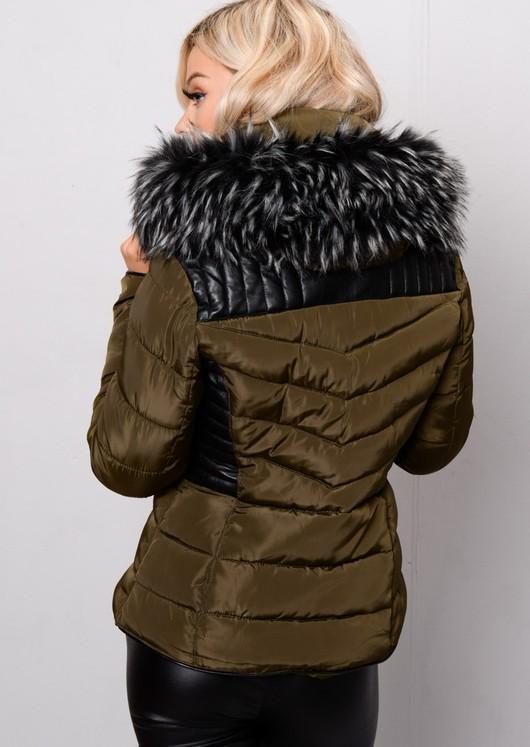 Faux Leather Panel Padded Puffer Jacket Coat Khaki Green