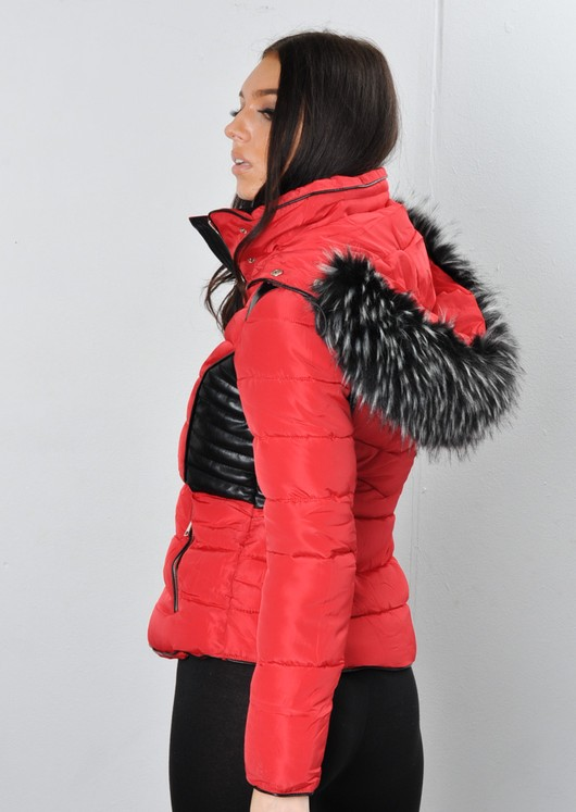 Faux Leather Panel Fur Hooded Padded Puffer Jacket Coat Red