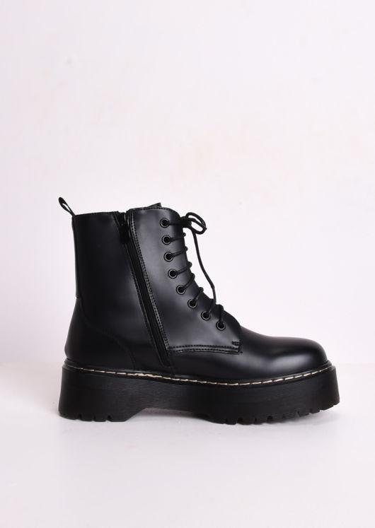 Faux Leather Platform Combat Ankle Boots Black