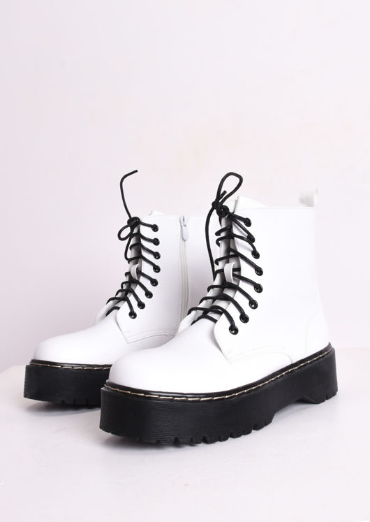 dc09b4eaa78 Faux Leather Platform Combat Ankle Boots White