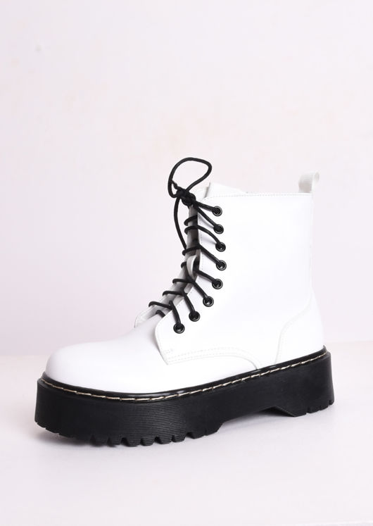 Faux Leather Platform Combat Ankle Boots White