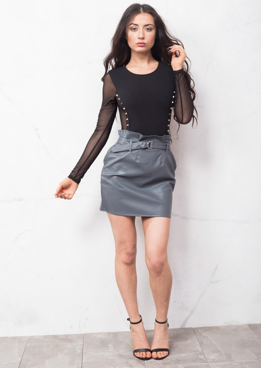 Faux Leather Pleated Bodycon Mini Skirt Grey