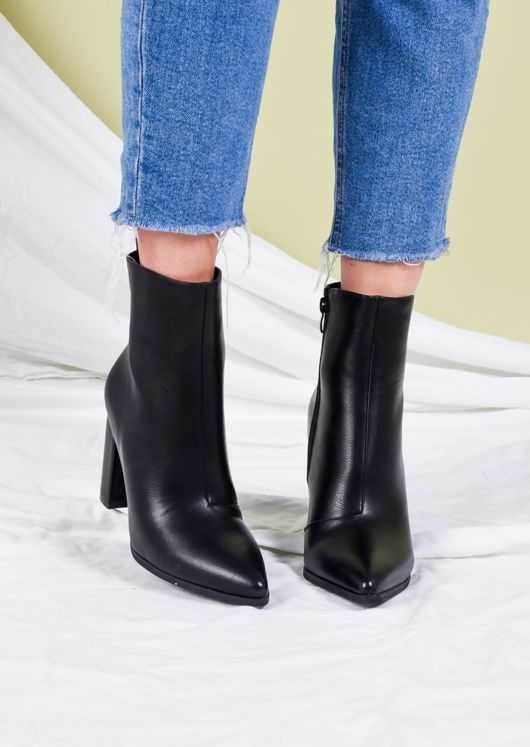 Faux Leather Pointed Toe Ankle Boots Black