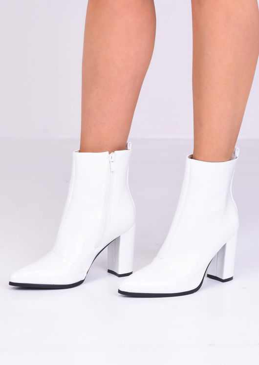 Faux Leather Pointed Toe Block Heel Ankle Boots White
