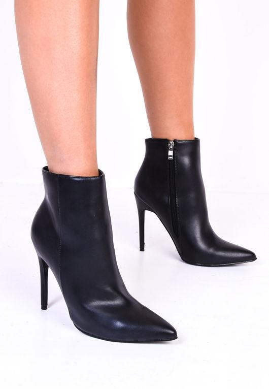 Side Zip Heel Ankle Boots Black | Lily Lu