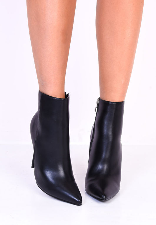 Faux Leather Pointed Toe Stiletto Side Zip Heel Ankle Boots Black