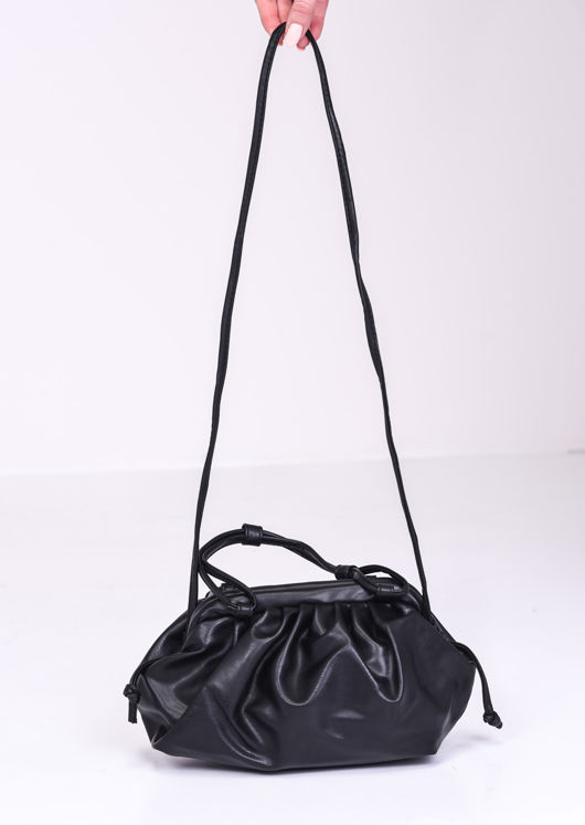Faux Leather Pouch Shoulder Bag Black
