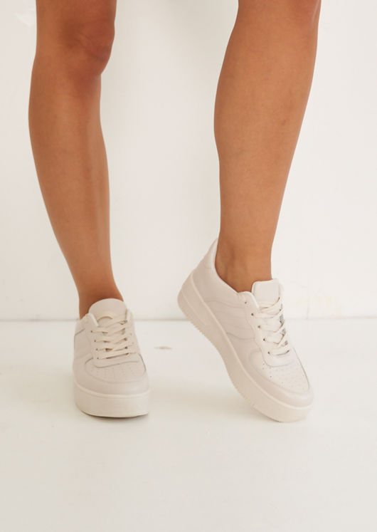 Faux Leather Pu Lace Up Chunky Sole Platform Trainers Beige