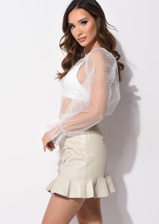 Faux Leather PU Ruched Frill Hem Mini Skirt Beige