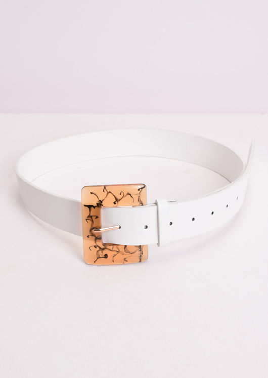 Faux Leather Resin Square Buckle Belt White