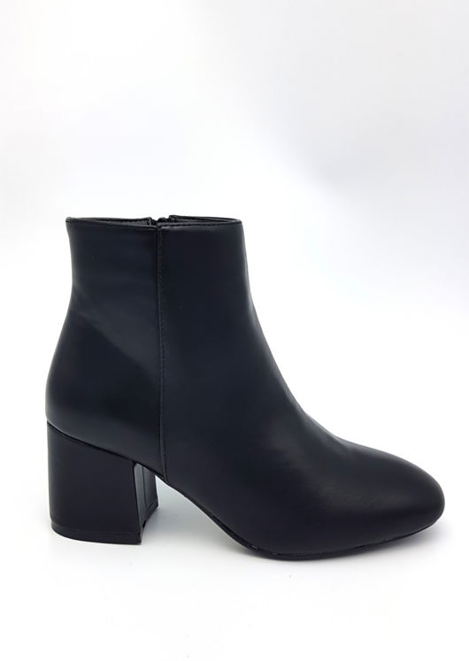 Faux Leather Round Toe Chunky Block Heel Ankle Boots Black