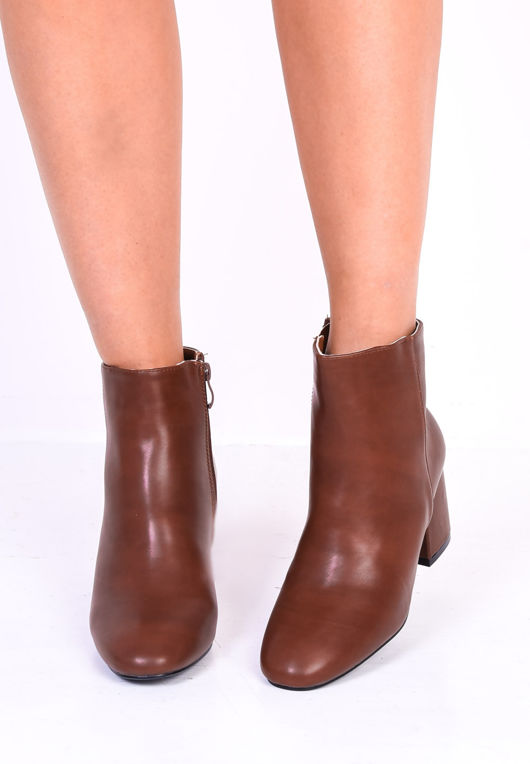 Faux Leather Round Toe Chunky Block