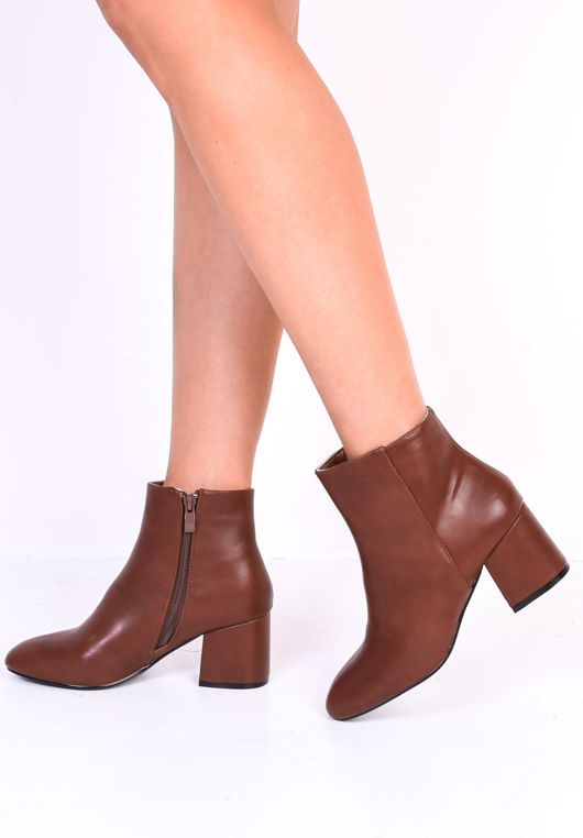 Faux Leather Round Toe Chunky Block Heel Ankle Boots Brown