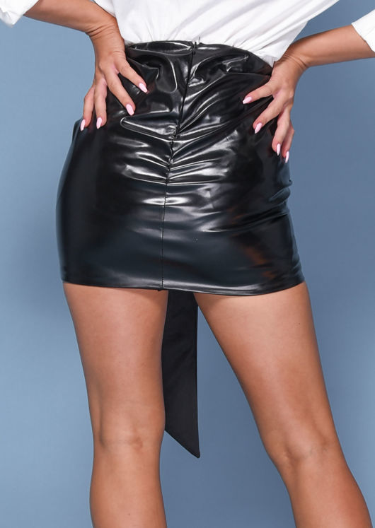 Faux Leather Ruched Knot Detail Mini Skirt Black