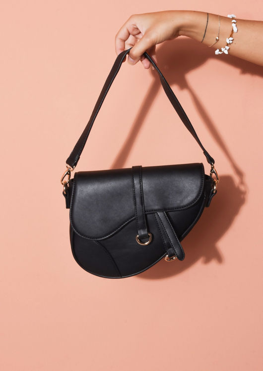 Faux Leather Saddle Shoulder Bag Black