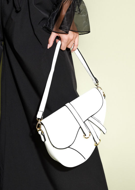 Faux Leather Saddle Shoulder Bag White