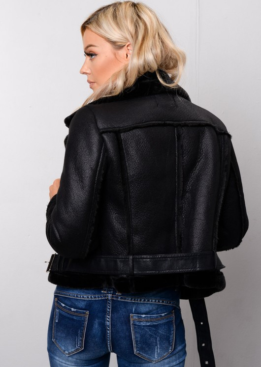 Faux Leather Shearling Cropped Aviator Biker Jacket Black