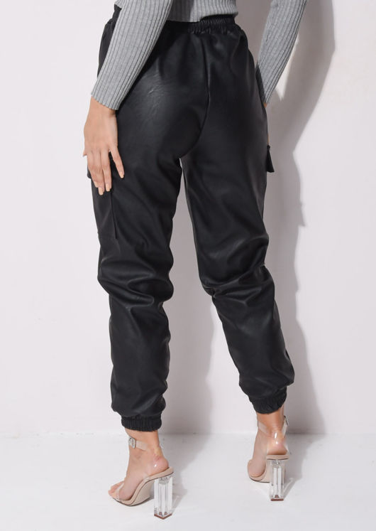 Faux Leather Side Pocket Utility Jogger Trousers Black