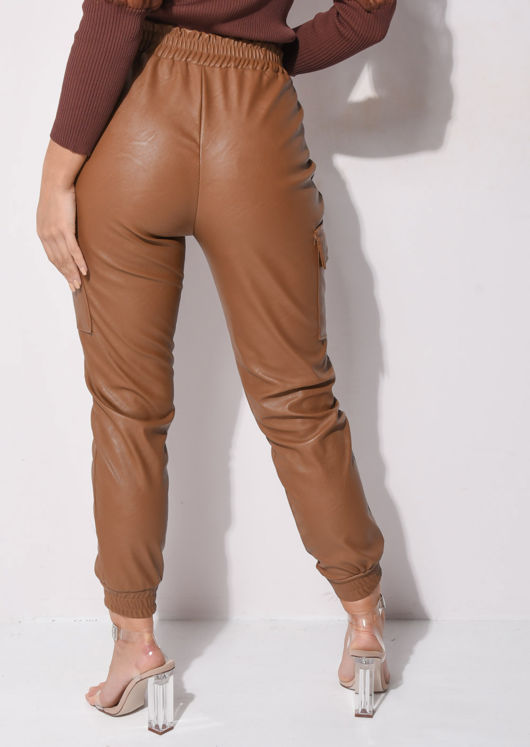 Faux Leather Side Pocket Utility Jogger Trousers Brown