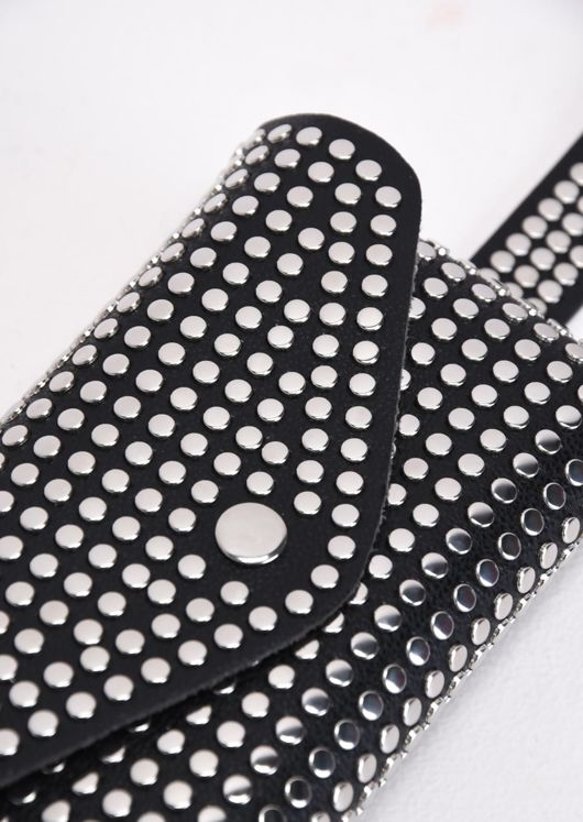 Faux Leather Silver Studded Belted Bum Bag Black