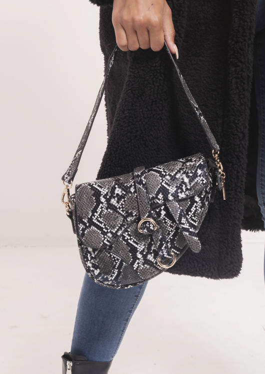 Faux Leather Snakeskin Print Saddle Shoulder Bag Black