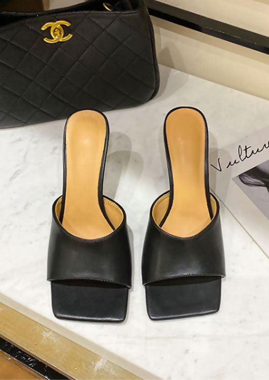 Faux Leather Square Toe Mule Heels Black