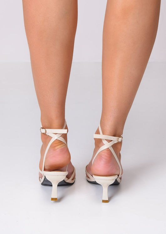 Faux Leather Square Toe Strappy Heel Sandals Beige