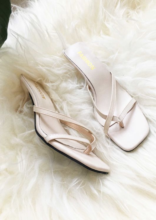 Faux Leather Square Toe Strappy Kitten Heeled Mule Sandals Beige