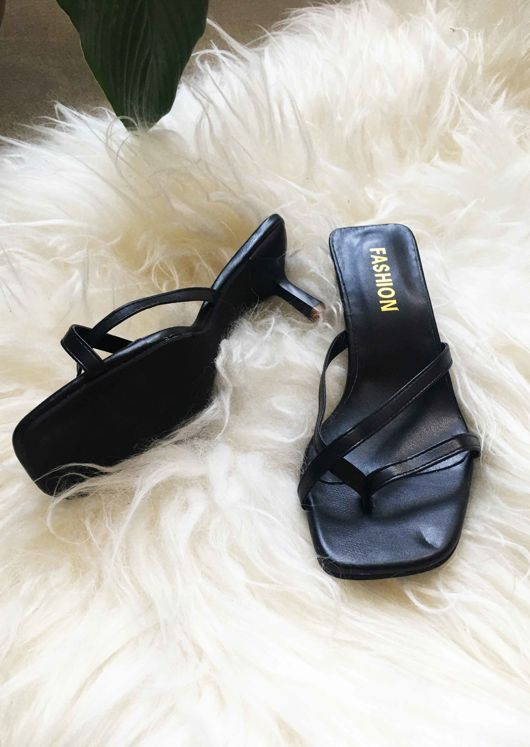 Faux Leather Square Toe Strappy Kitten Heeled Mule Sandals Black