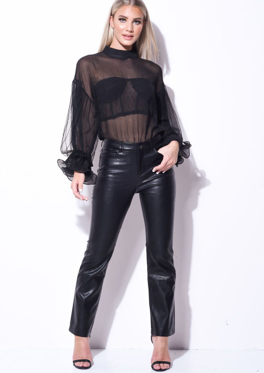 Faux Leather Straight Leg Trousers Black