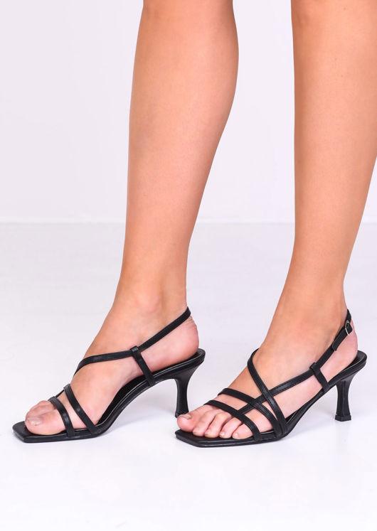 Faux Leather Strappy Kitten Heels Black