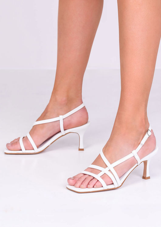 Faux Leather Strappy Kitten Heels White