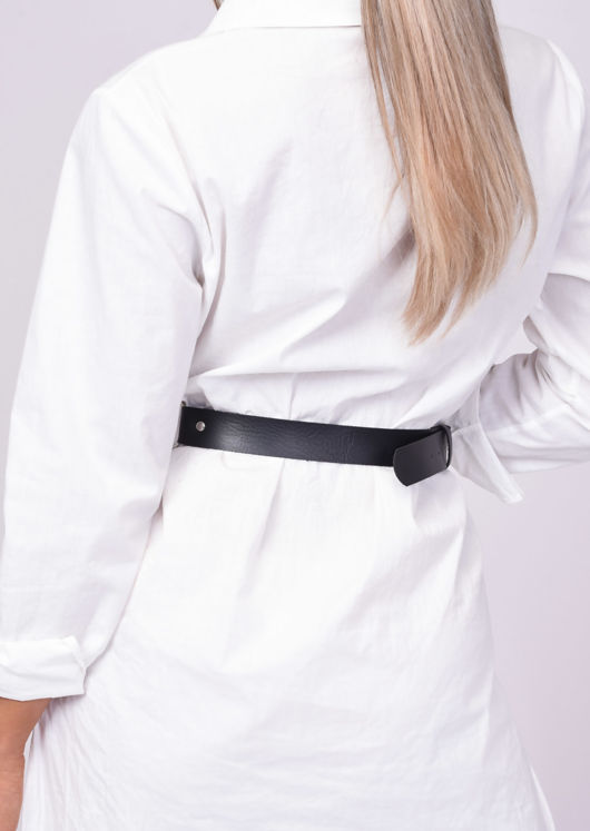 Faux Leather Layered Studded Chain Belt Black