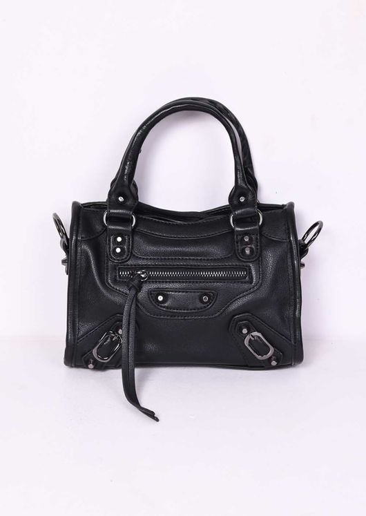 Faux Leather Studded Detail Mini Tote Bag Black