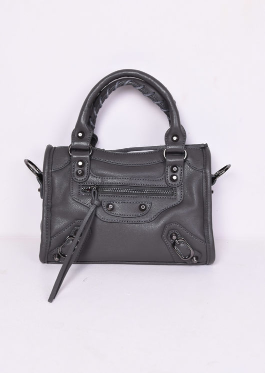 Faux Leather Studded Detail Mini Tote Bag Dark Grey