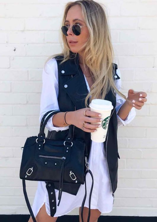 Faux Leather Studded Detail Tote Bag Black