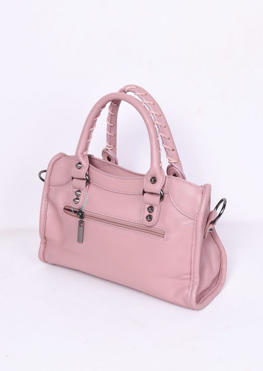 Faux Leather Studded Detail Tote Bag Pink