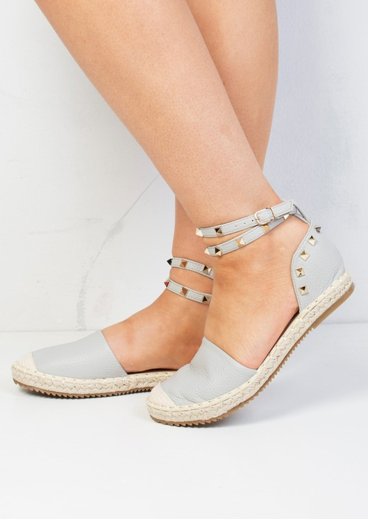 Faux Leather Studded Espadrilles Grey