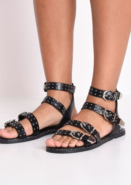 Faux Leather Studded Flat Sandals Black