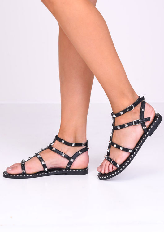 Faux Leather Silver Studded Gladiator Sandals Black