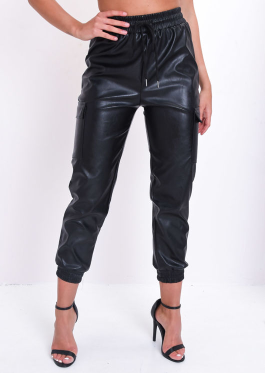 Faux Leather Utility Elasticated Jogger Trousers Black