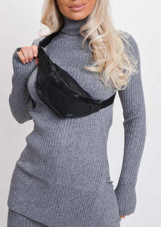 Faux Leather Zip Front Bum Bag Black