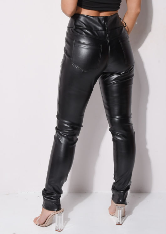 Faux Leather Zip Pocket Biker PU Skinny Trousers Black